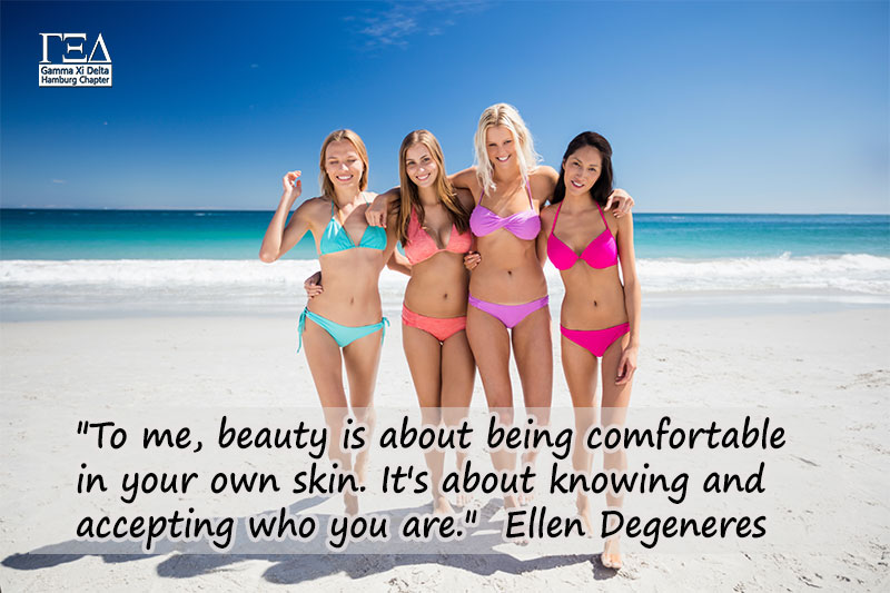 To me, beauty is about being comfortable in your own skin. It's about knowing an accepting who you are. - Ellen Degeneres